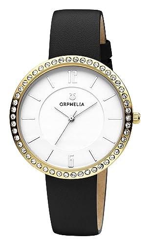 coupe classique sélectionner pour le meilleur Baskets 2018 Orphelia Montre Femmes Quartz Analogique Crystal Bracelet en Cuir Lunette  sertie de Pierres