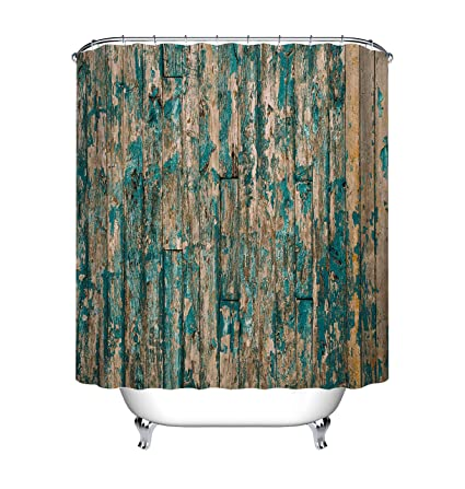 LB Weathered Wooden Wall Barnwood Shower Curtain Set Vintage Country Theme Restroom Decor