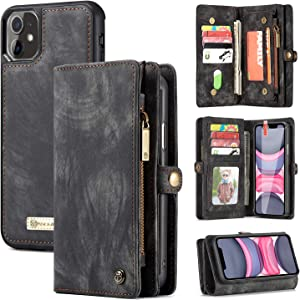 Zttopo iPhone 11 Wallet Case, 2 in 1 Leather Zipper Detachable Magnetic 11 Card Slots Card Slots Money Pocket Clutch Cover with Screen Protector for 6.1 Inch iPhone Case (Black-Grey)