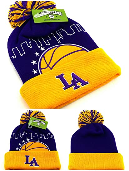 5be799d77daf8c Amazon.com: Los Angeles New Leader Knit Beanie Toque Skyline Lakers Colors  Purple Gold Puffed Pom Era Hat Cap: Sports & Outdoors