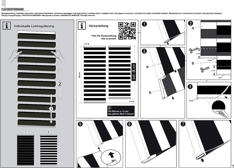 Grau Schiebegardine Night Regulierter Lichteinfall 1 St/ück 60 x 245 cm Kl/öckner Fl/ächenvorhang Day
