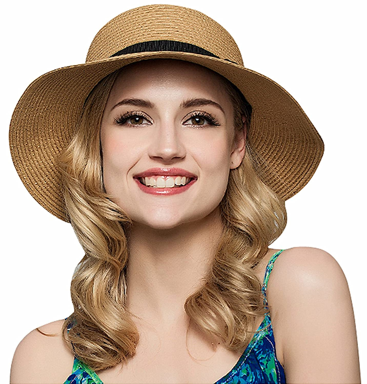 JOSENI Women Floppy Sun Beach Straw Hats Wide Brim Packable Summer Cap