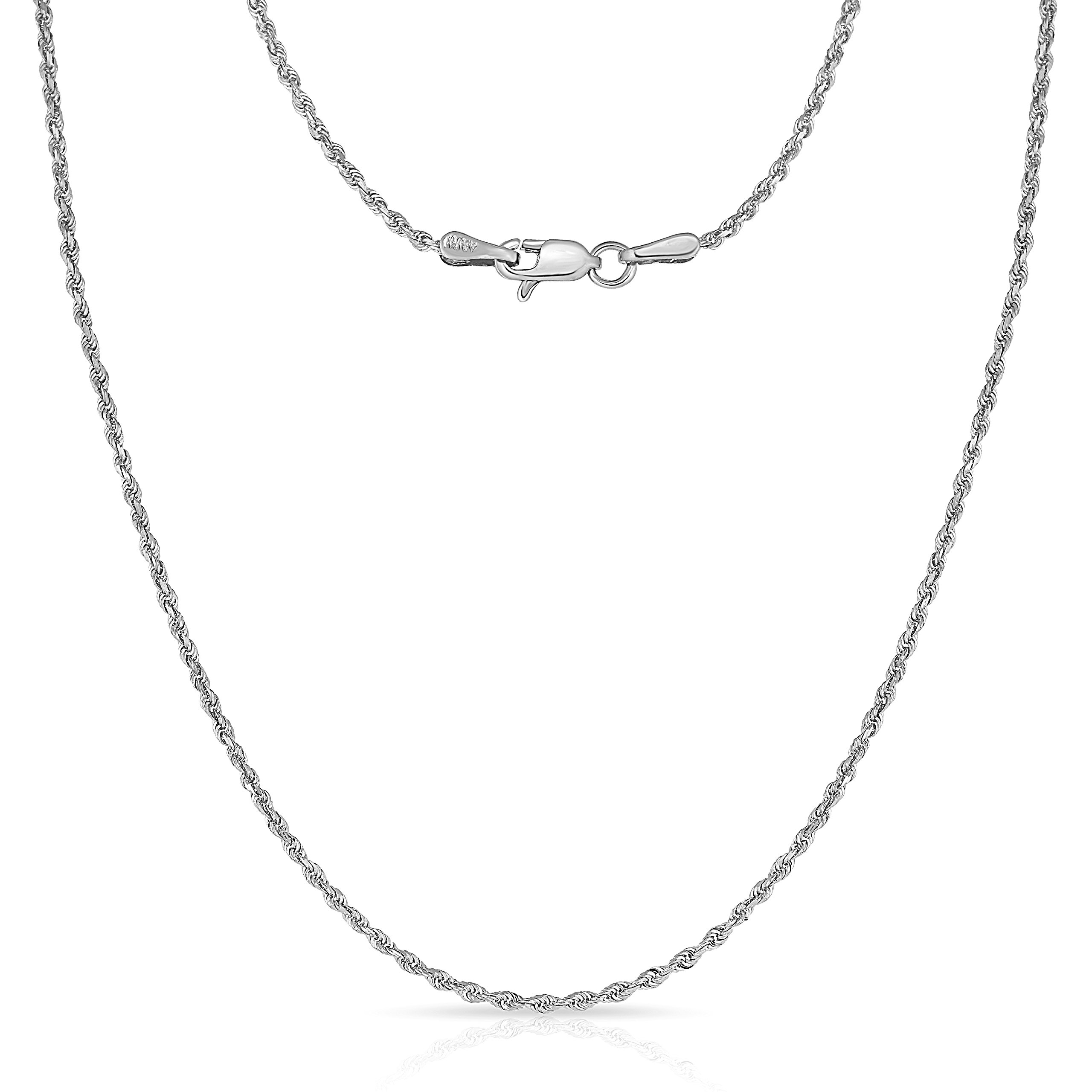14 Inch 10k White Gold Thin Solid Diamond Cut Rope Chain Necklace, 1mm