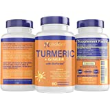 Turmeric and Ginger Capsules with BioPerine Black Pepper Extract - Gentle ON Stomach, Easy Digestion + Weight Loss - 95% Curc