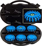 UvV-Shop LED 6 Warnleuchten blaues (+ 1 x Notlicht) Kofferset Unfall, Notfall, Leuchten POWER-LED Escape-Light Koffer blau Akku LED 12V/220V
