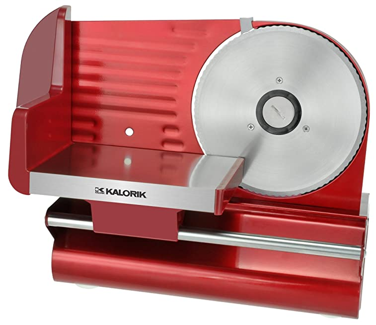 "Kalorik 200-Watt Electric Meat Slicer with 7.5"" Blade, Red Metallic"