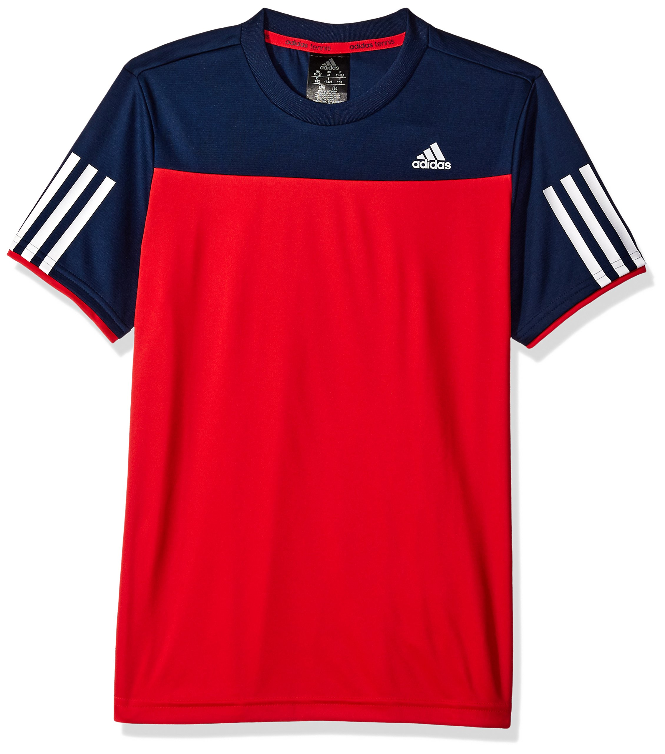 adidas Boys Club Tee, X-Large, Ray Red Collegiate Navy Color Block
