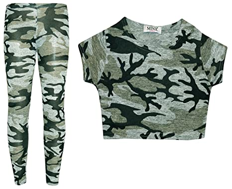 NEW KIDS GIRLS ADIOS CAMOUFLAGE MILITARY ARMY CROP TOP /& LEGGING SET AGE 7-13
