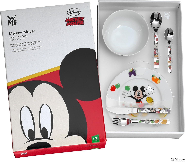 Cromargan Edelstahl poliert Gravurgeschenk f/ür Taufe oder Geburtstag WMF Disney Mickey Mouse Kindergeschirr mit Kinderbesteck 6-teilig ab 3 Jahren mit Namensgravur