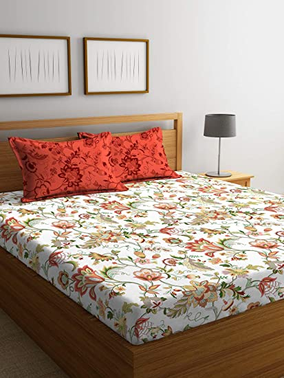 Portico New York Sparkle Printed Cotton 144 TC Queen Double Bedsheet with 2 Pillow Cover- 224X254 cm, Multicolour