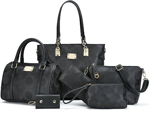 6 pieces//set Fashion Composit Bag Large Capacity Handbag Shoulder Bag Wallet YP