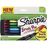 Sharpie Pen, Brush Tip, Assorted Colors, 12 Count + Soft Zip Case