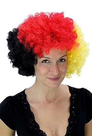WIG ME UP ® - Peluca afro aficionado negro/rojo/amarillo Alemania PW0011-
