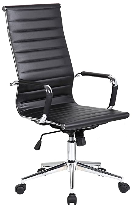 2xhome  Tall Ribbed PU Leather Swivel Tilt Adjustable Chair Designer Boss  Executive Management Manager Office