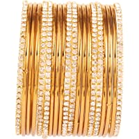 Touchstone New Golden Bangle Collection Indian Bollywood Traditional Yellow Rhinestone Plain Golden Designer Jewelry…