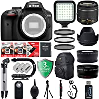 "Nikon D3400 24.2MP 1080P Digital SLR Camera w/3.2"" LCD - 5 FPS - Built in Flash - Nikon AF-P 18-55mm VR Lens + 20PC Starter Bundle"
