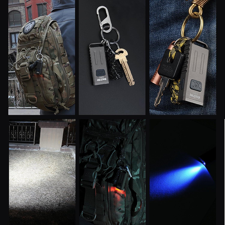 MecArmy SGN3 EDC Mini Antorchas CREE XP-G2 micro LED 160 lúmenes Antorcha de Tamaño micro XP-G2 Recargable Llavero Linterna a Prueba de agua con LEDs UV y rojos para llevar Todos los Días (Verde) b44d99