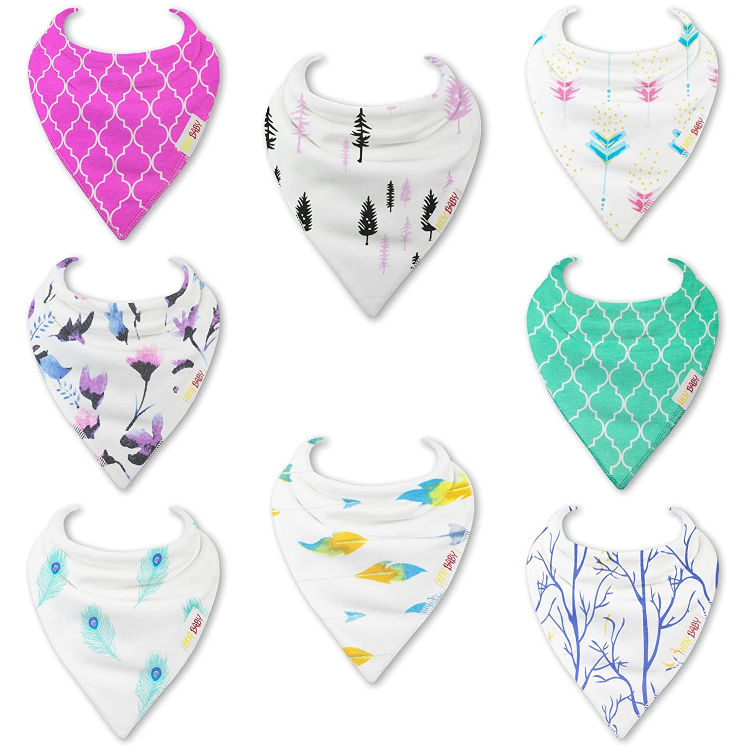HnyBaby Baby Bandana Drool Bibs for Boys and Girls 8 PackBlossom and Boho Organic Cotton with Adjustable Snaps, Drooling and Teething Bib Unisex Gift Set