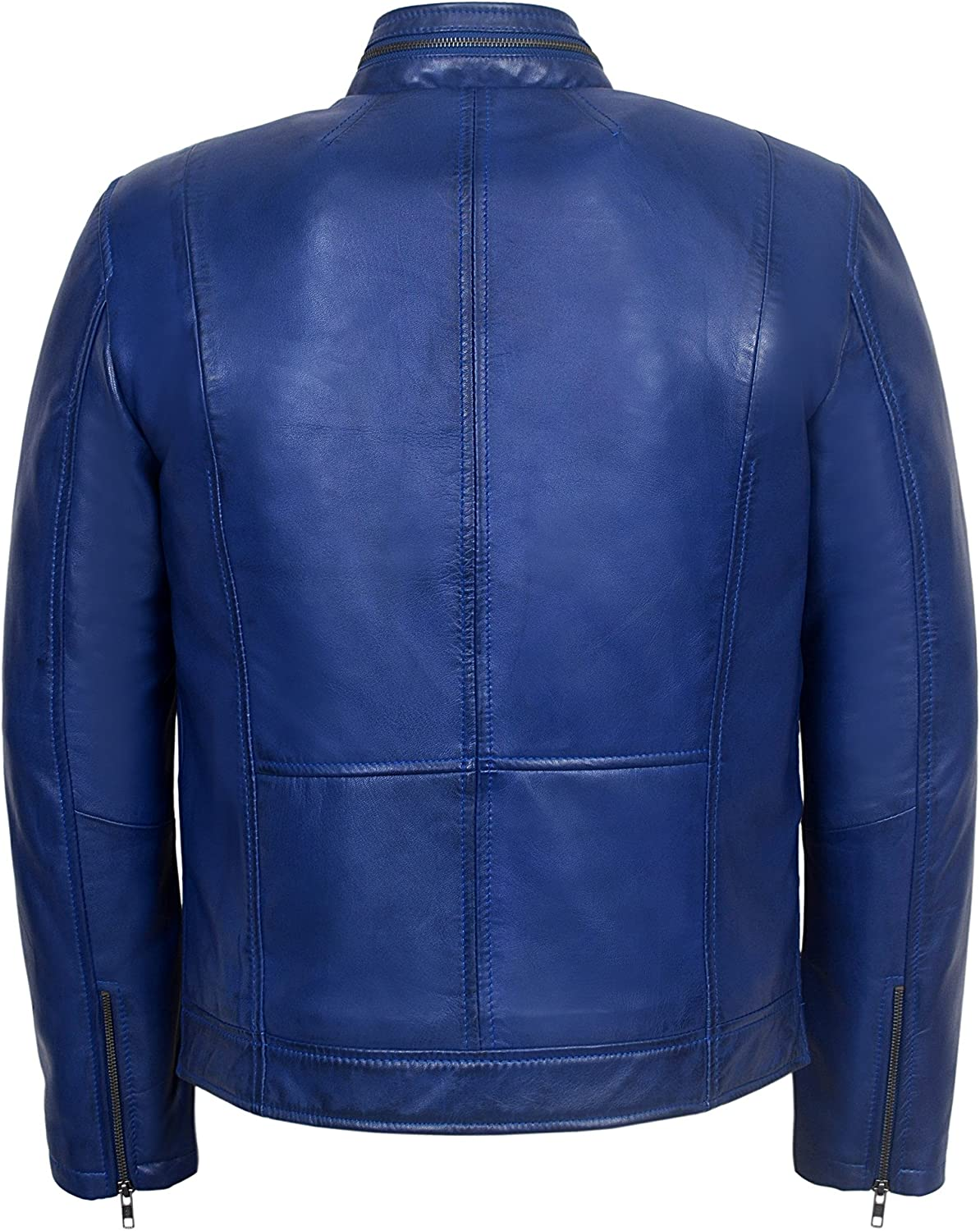 Gunner Mens Blue Fashion Style Biker Motorcycle Real Italy Napa Leather Jacket 7861