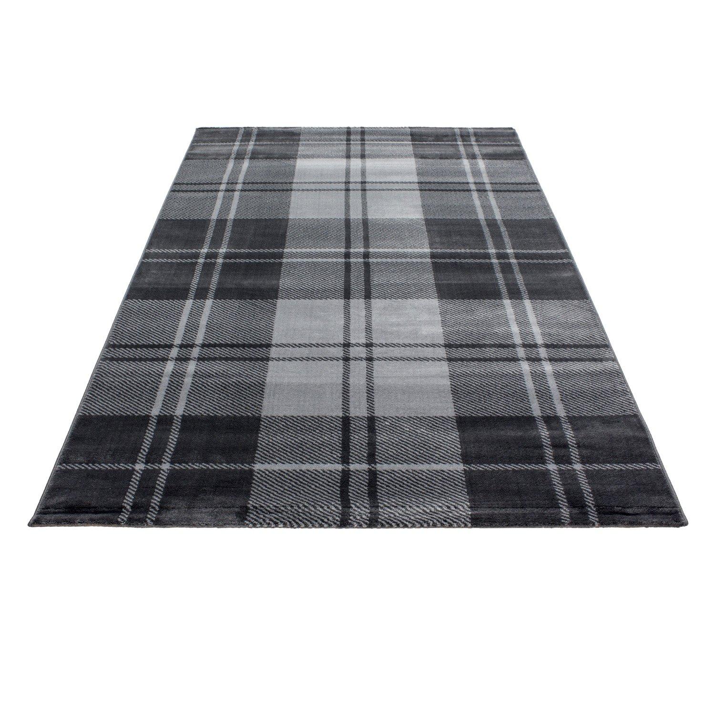 Teppiche modern Design Rechteckig Kurzflor Pflegeleicht Kariertes Gewebe Grau, Maße 160x230 cm