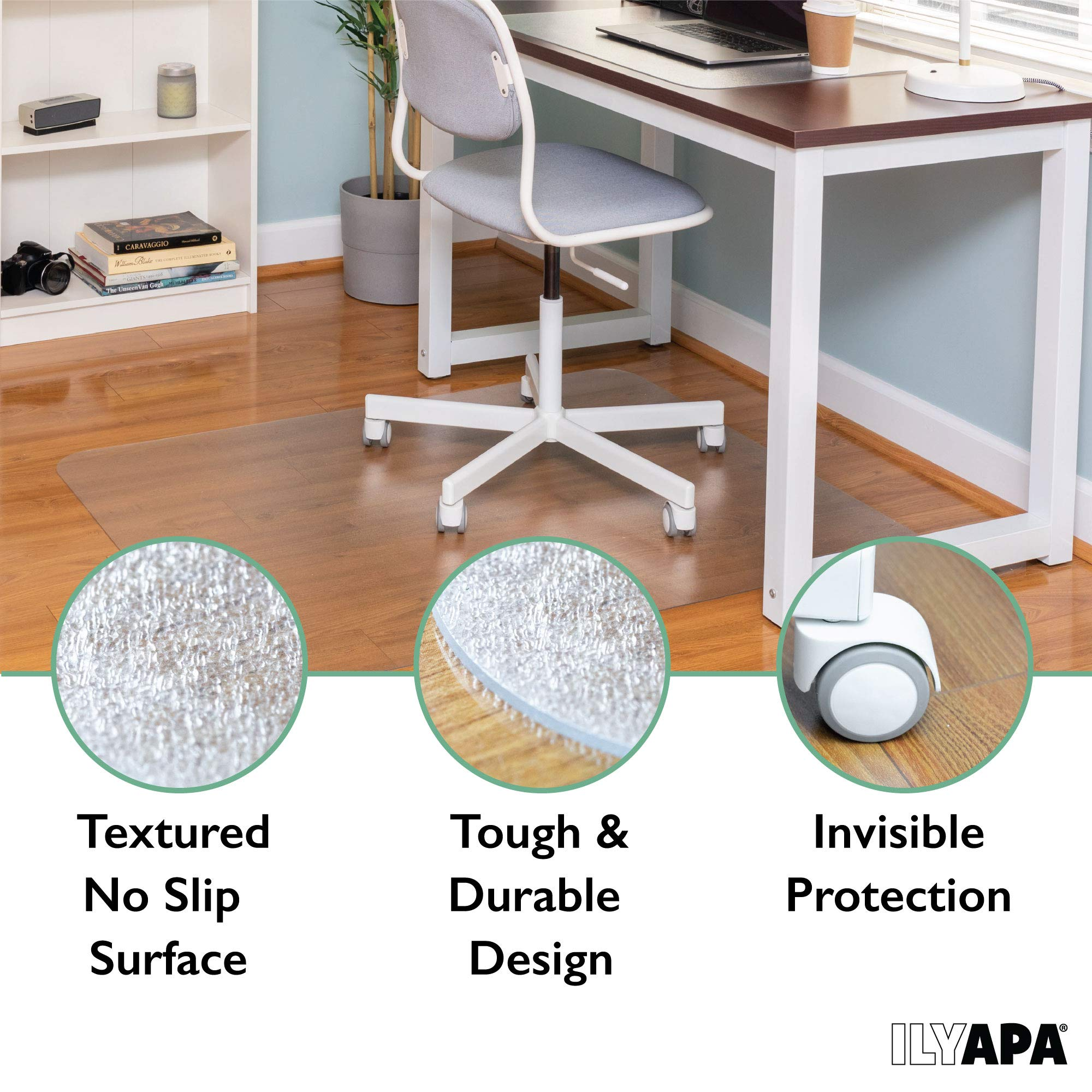 Office Chair Mat for Hard Floors 59 x 47 - Clear Hardwood Mat for Desk Chairs by Ilyapa (Image #3)