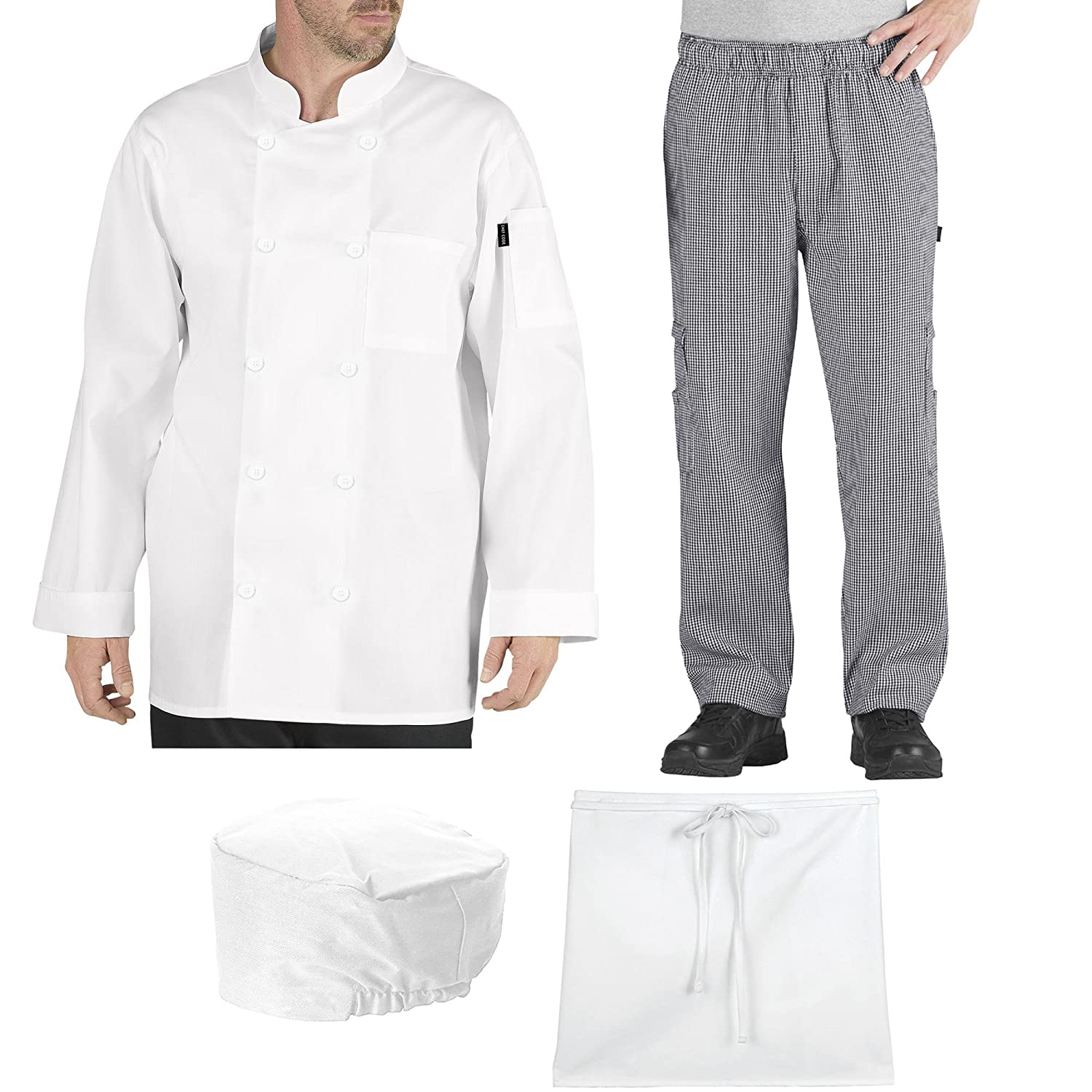 Chef Code Student Chef Bundle Pack Includes Chef Coat, Pants, Hat & Apron CC-PACK-A