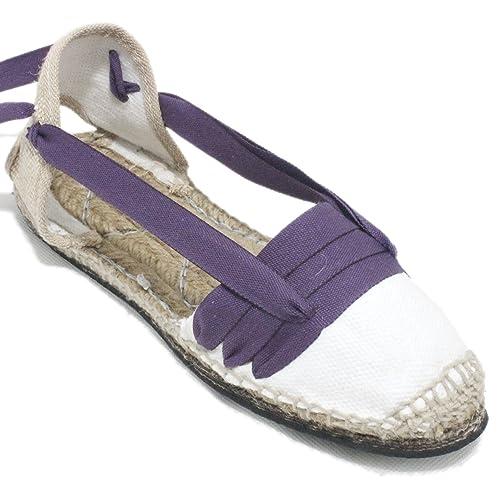 Espardenya.cat Alpargatas Tradicionales Planas Suela de Goma Diseño Tres Vetas o Tabernero Color Lila: Amazon.es: Zapatos y complementos