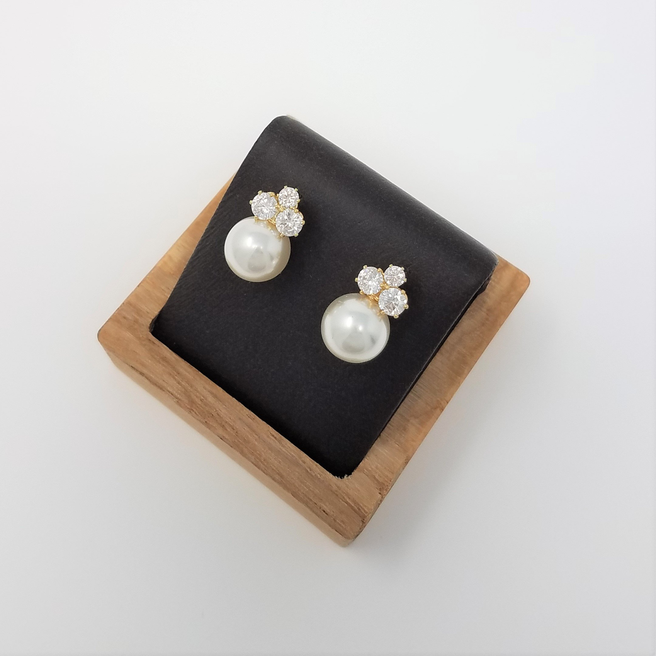 Bridesmaid Gifts - Elegant Pearl & Triple CZ Earrings (8mm, Simulated Pearl) by Bride Dazzle (Image #3)