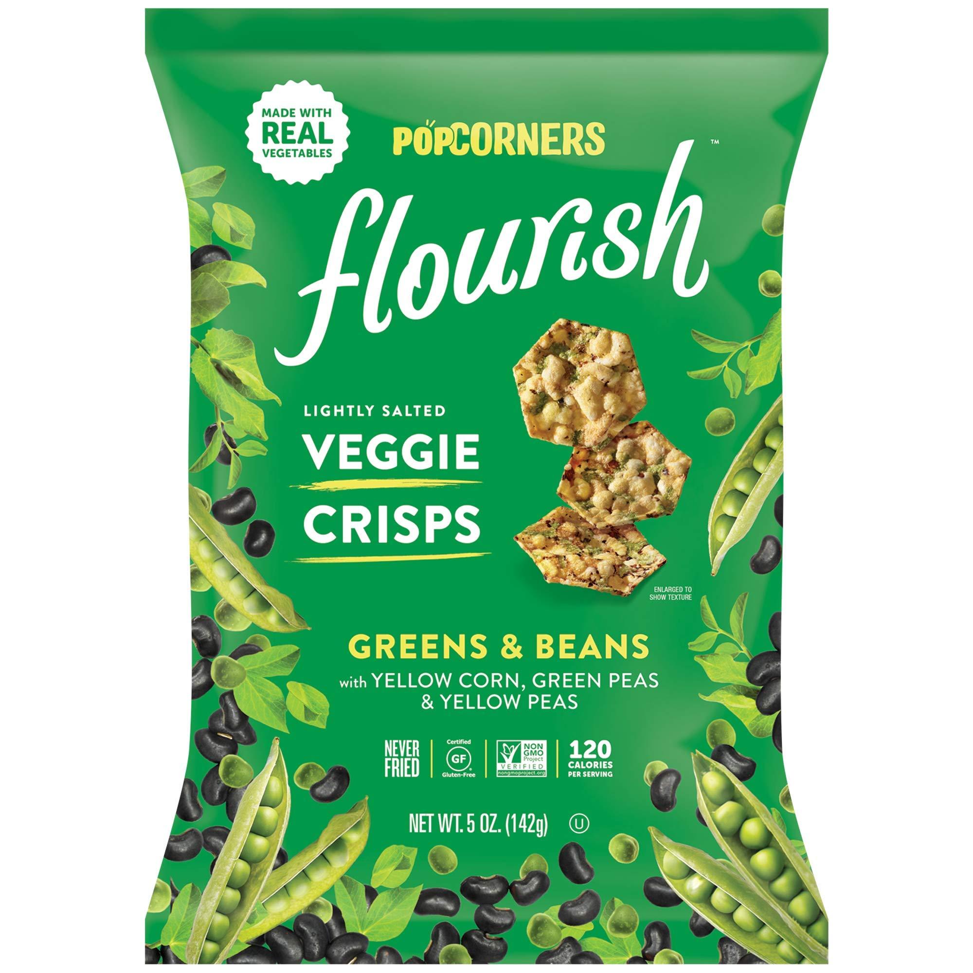 PopCorners Flourish Greens & Beans Veggie Crisps | Plant-Based Protein, Gluten Free Snacks | (12 Pack, 5 oz Snack Bags) by Popcorners