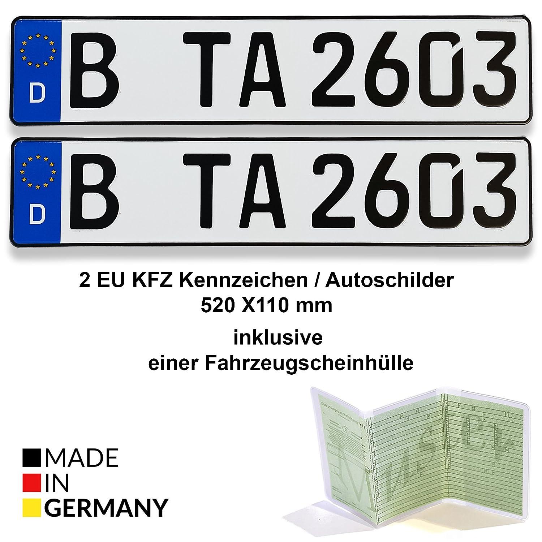 2 EU KFZ Kennzeichen / Autoschilder 520 X 110 mm inklusive einer ...