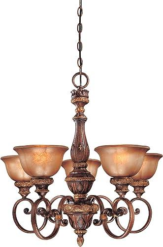 Minka Lavery Chandelier Pendant Lighting 1355-177, Illuminati Glass 1 Tier Dining Room, 5 Light, 500 Watts, Bronze