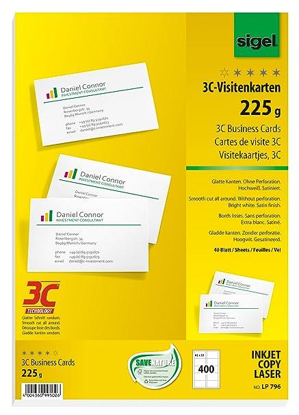 Sigel Lp796 Visitenkarten 3c 400 Stück 40 Blatt Hochweiß Glatter Schnitt Rundum 225 G 85x55 Mm Weitere Stückzahlen