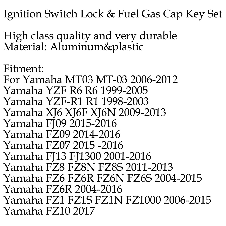 Areyourshop Z/ündschalterschloss /& Kraftstoff-Gasdeckelschl/üssel-Set f/ür Yamaha MT03 06-12 YZF R6 R1 XJ6