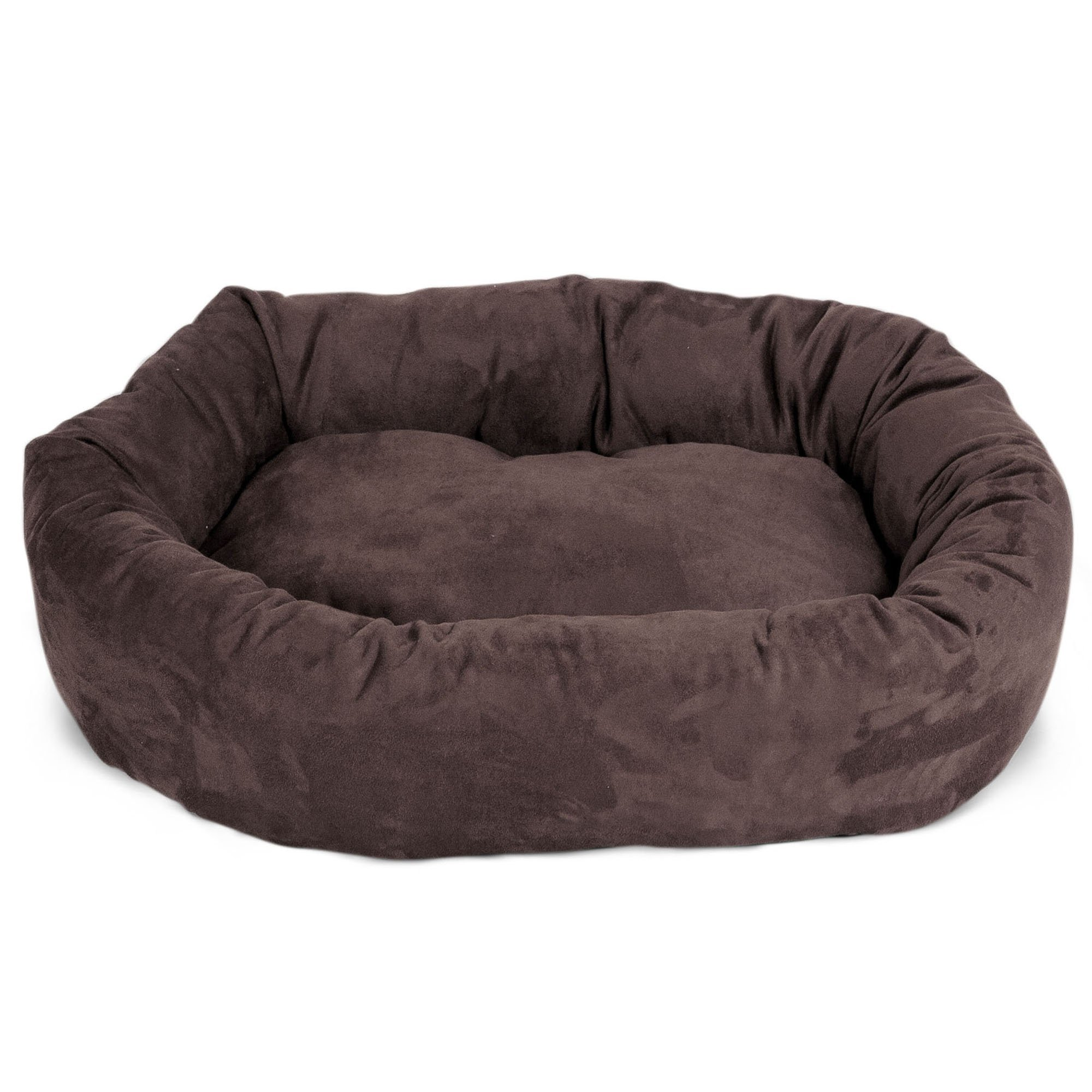 Majestic Pet 40 inch Chocolate Suede Bagel Dog Bed By Products