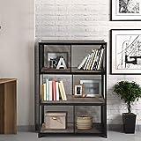 FurnitureR Estantería de libros industrial, estantería de 4 niveles, estantes de almacenamiento en rack con marco de…