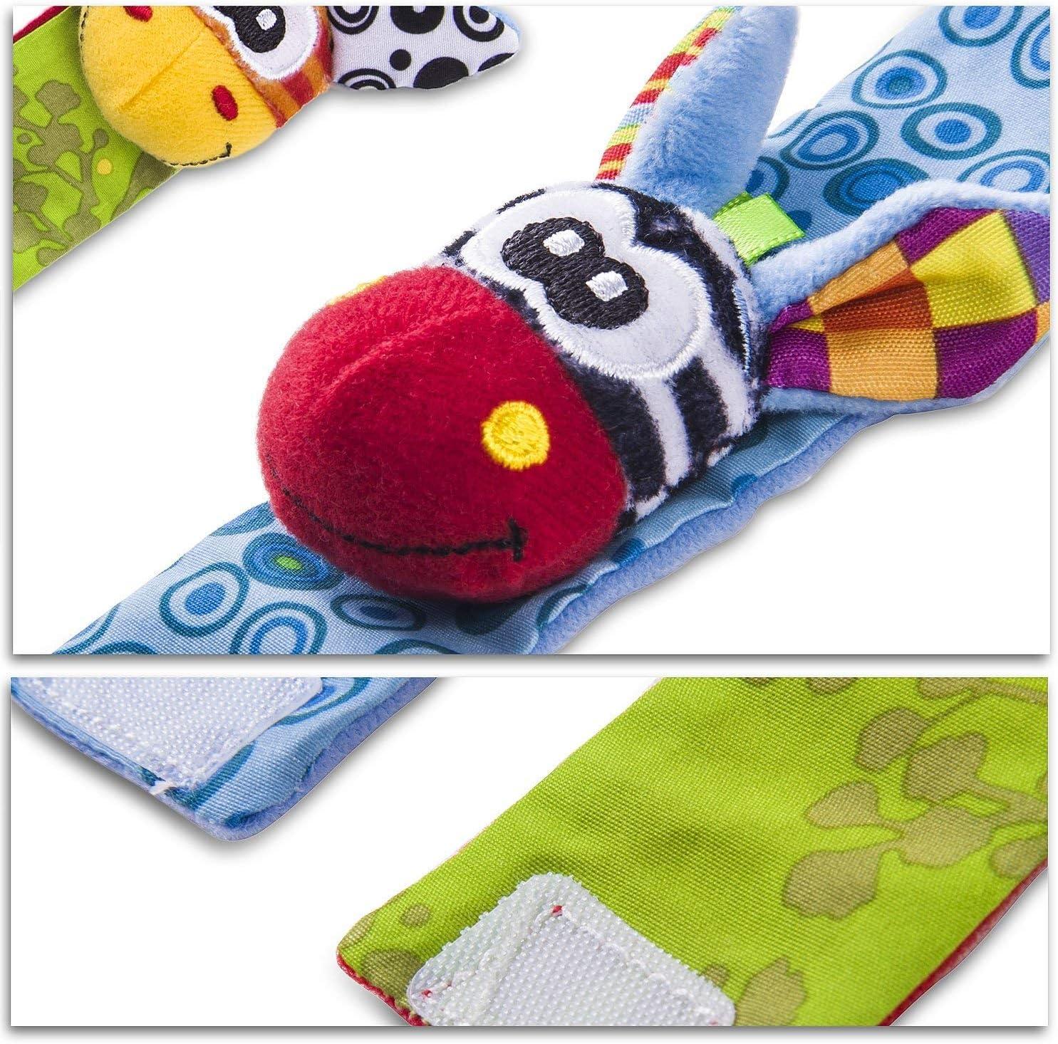 2 pezzi in vita e 2 pezzi Sozzy Socks Baby Rattle Toys Cute Animal Infant 4pcs Soft Wrist Bell Strap Sonagli e Foot Socks Finder Set Sviluppo Soft Toys per bambini from Funky Planet