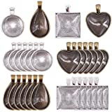 Glarks 48-Pieces 4 Styles Pendant Trays 24pcs Round & Square & Heart & Teardrop and 24pcs Bright Glass Cabochon Dome Tiles for Crafting DIY Jewelry Gift Making
