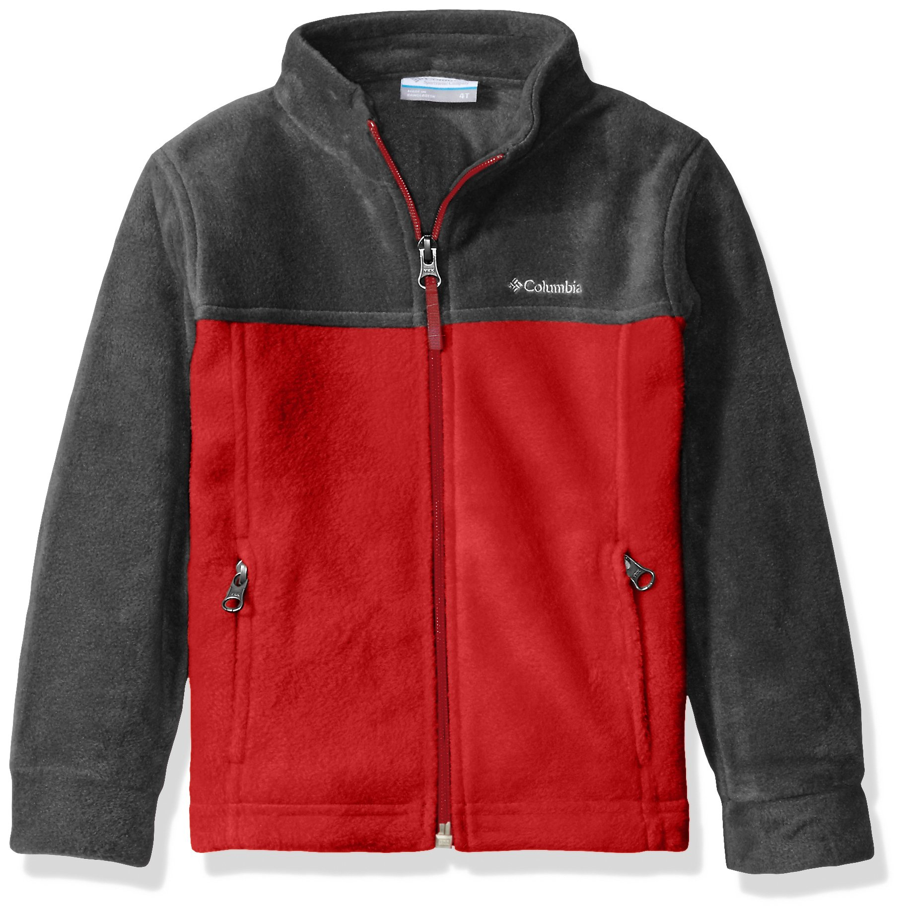 Columbia Toddler Boys' Steens MT II Fleece Jacket, Mountain Red/Charcoal Heather, 4T