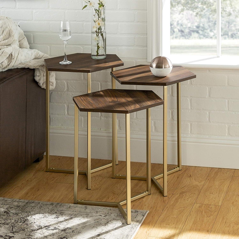 WE Furniture Modern Hexagon Nesting Side End Table Set Living Room, Set Of 3, Walnut Brown, Gold