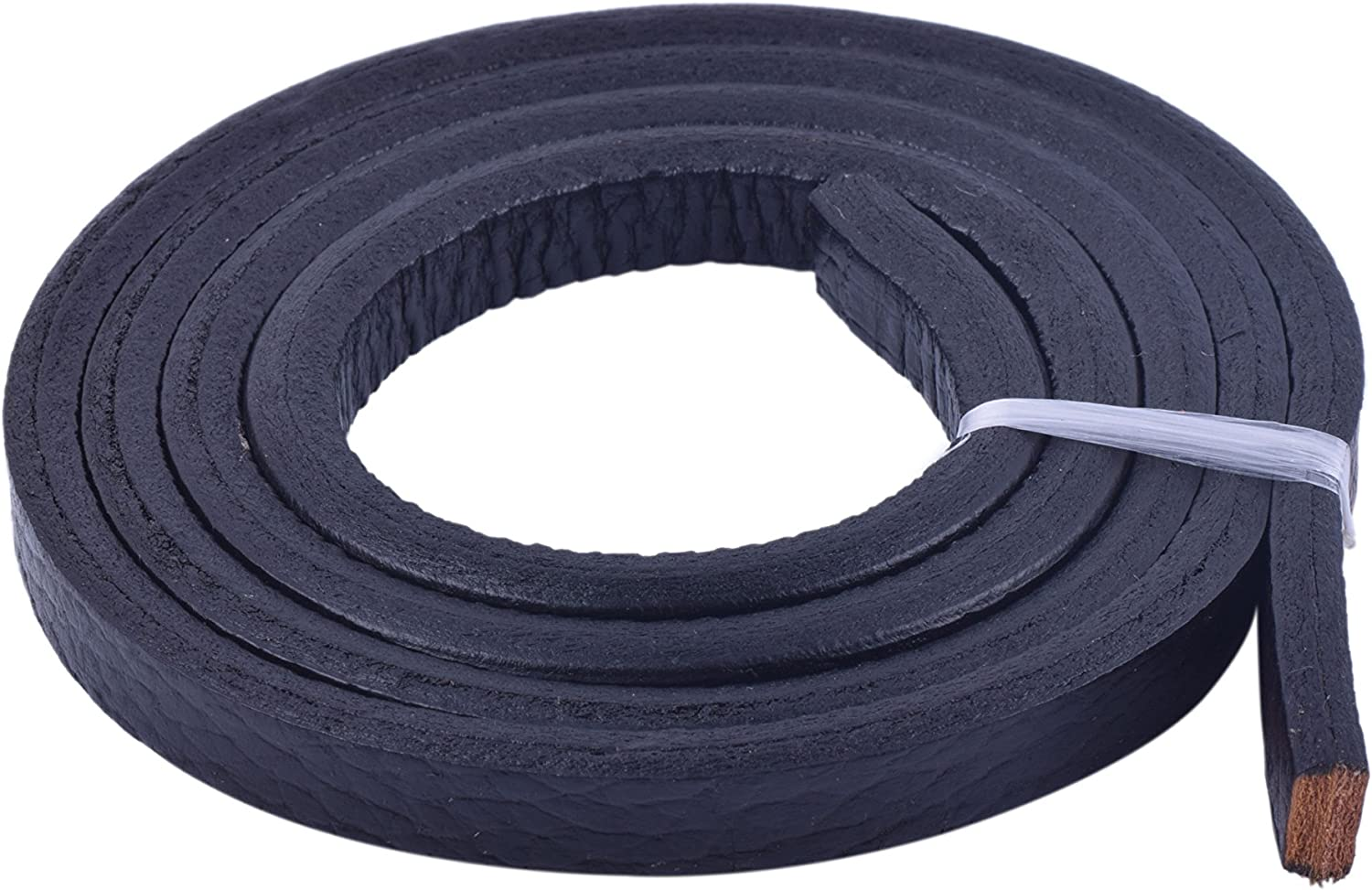 KONMAY 1 Meter Black with White Cord Stitched 10.0x6.0mm Licorice Leather Cord