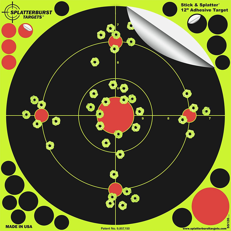 Paquet de 25 - 30,5cm Stick & Splatter Adhésif Splatterburst Objectifs de tir - Les coups jaunes fluorescents brillants sont faciles à voir - Excellente pour toutes les armes à feu, fusils, pistolets, fusils à air et Airsoft. Splatterburst Targets Inc