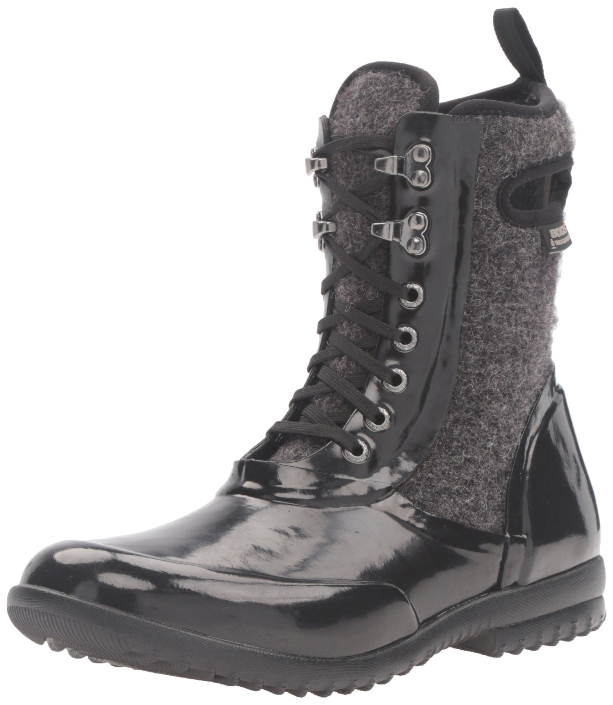 Bogs Women's Sidney Lace up Waterproof Insulated Rain Boot, Wool/Black, 7 B(M) US