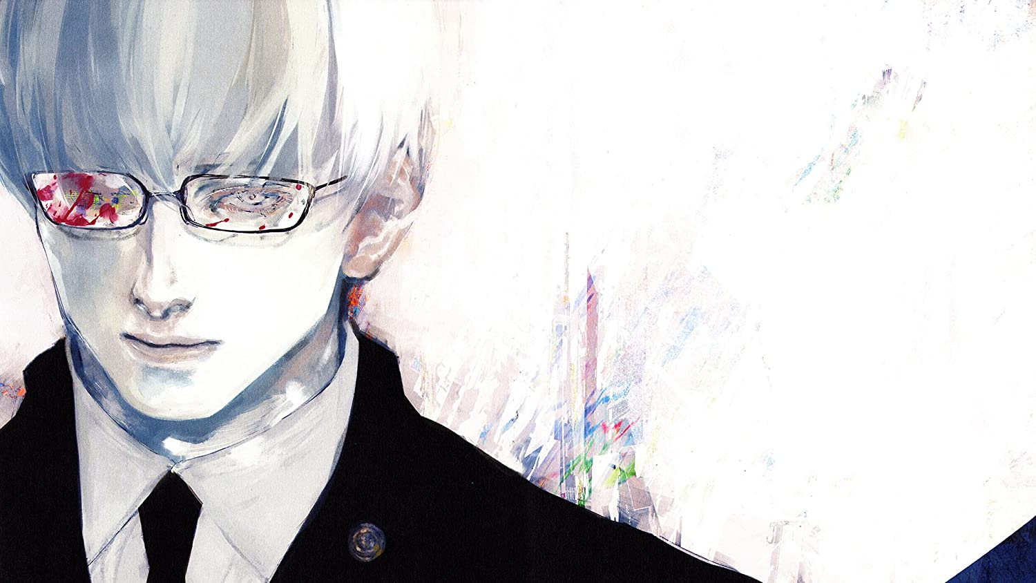 Anime Tokyo Ghoul Kishou Arima Boy Tokyo Ghoul A Tokyo Ghoul Re White Hair Glasses Blood White Eyes Poster 300 Gsm Quality 12x18 Inch Size Amazon In Home Kitchen