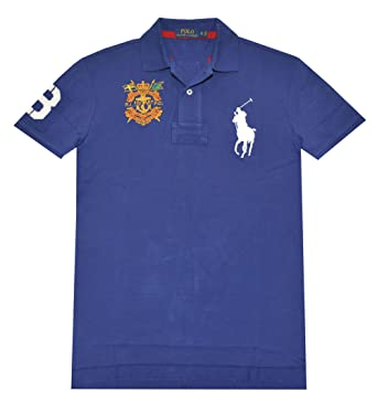 Mens Polo Ralph Lauren Classic Fit Big Pony Crest Mesh Polo Shirt (Small,  Yale