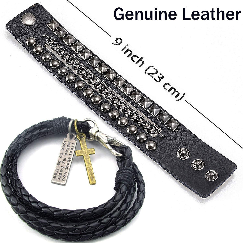 Y-blue r/églable Pression Lock Street Rock Punk Multicouche Bracelet en Cuir 5/Couleur