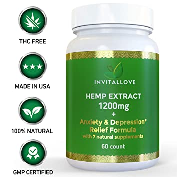 Anxiety Depression Relief | Full Spectrum Hemp Oil Extract 1200mg | B-12  Vitamin Valerian Root
