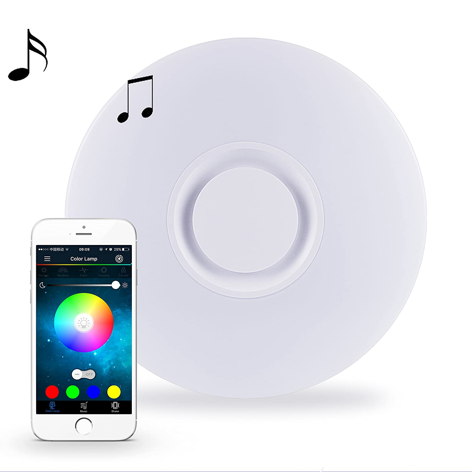 Semi flush mount ceiling light fixture with bluetooth speaker semi flush mount ceiling light fixture with bluetooth speaker horevo app remote control dimmable 24w 15 inch 6500k rgbw color change warmwhite arubaitofo Choice Image