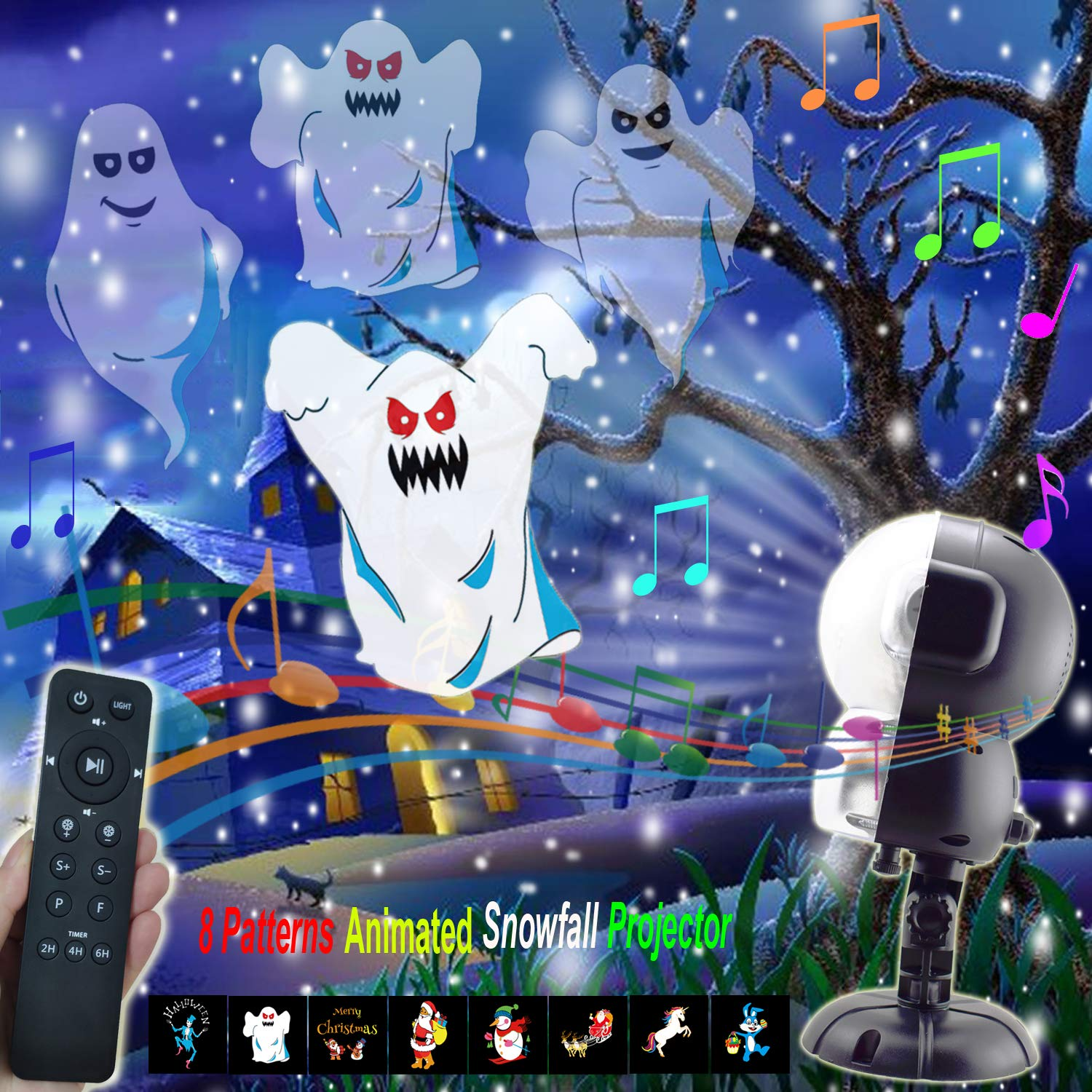 AIDERLY Halloween Christmas Music 8 Pattern Snow Projector LED Lights Waterproof Timer Snowfall Light with Remote Controller for Indoor Outdoor Santa Stage Festival Wedding Birthday Party (Black)