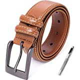 Mens Leather Belt Adjustable with Classic Dark Satin Pin Buckle(5 Sizes 4 Colors,218)