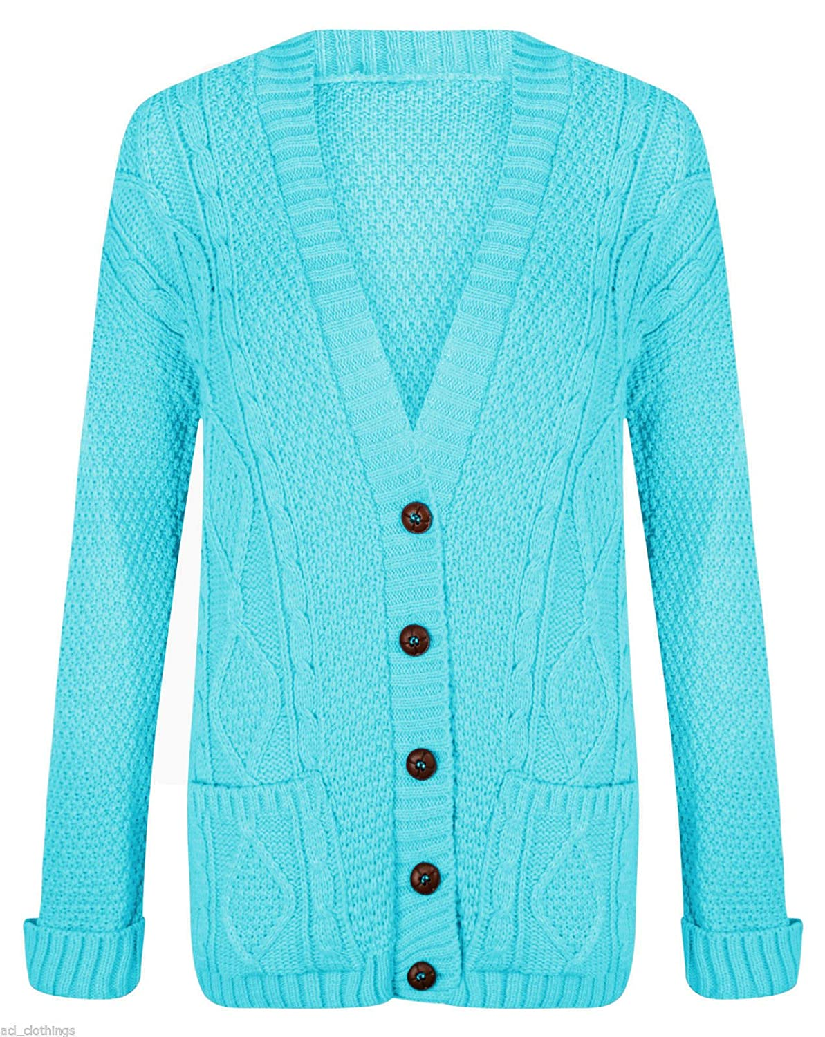 Womens Cable Knit Chunky Ladies Grandad Boyfriend Pocket Button up ...